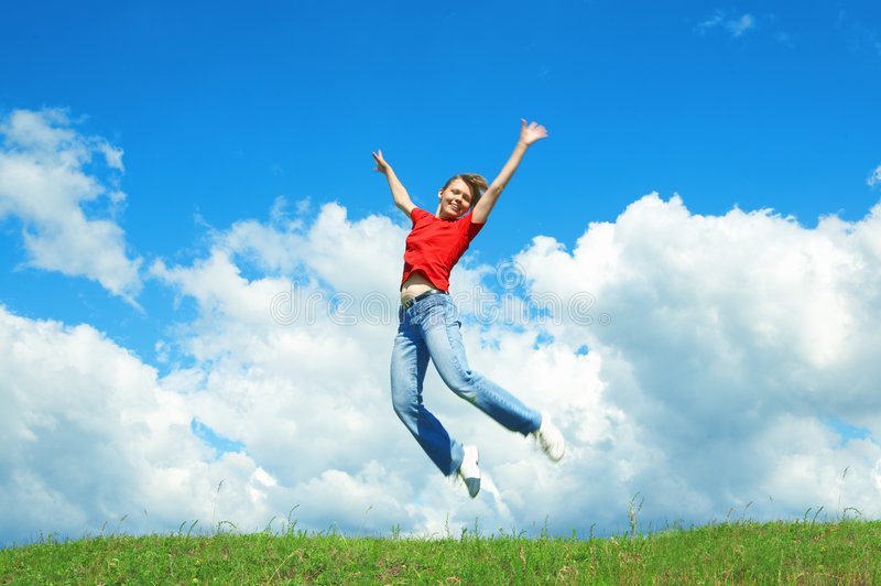 Download Young Woman Jump On Green Grass Stock Image - Image: 5713183