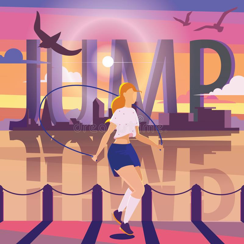 Young woman jumping with rope on pier. Colorful sport illustration with large word JUMP, city silhouette and water. stock illustration