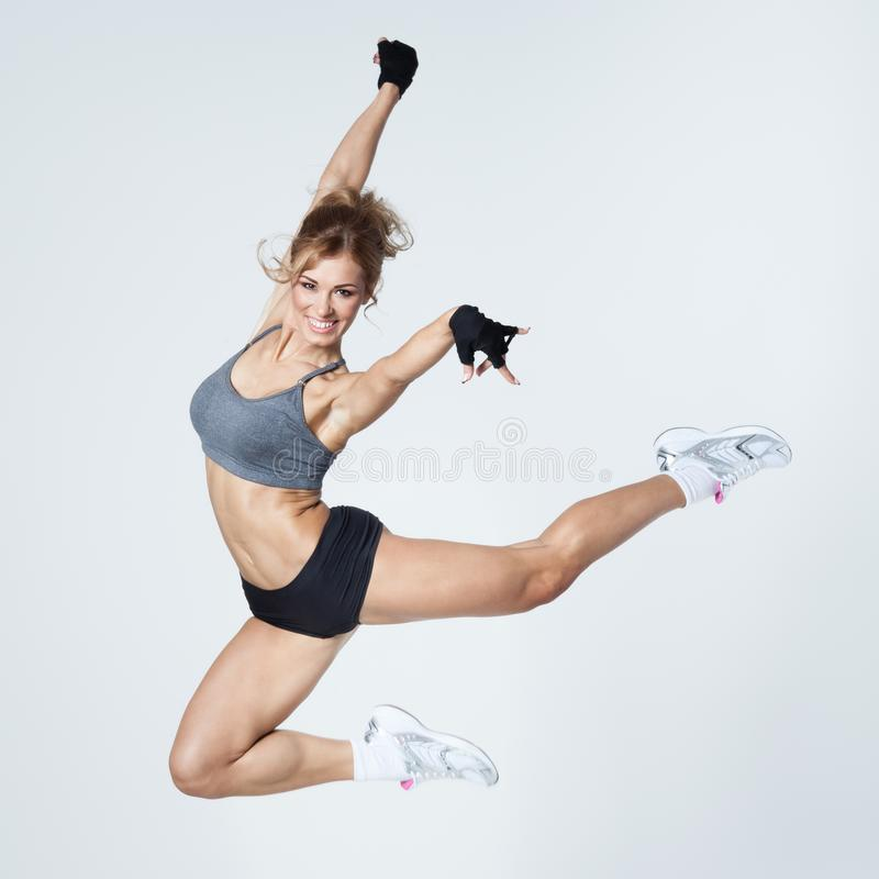 Young woman jumps royalty free stock photos