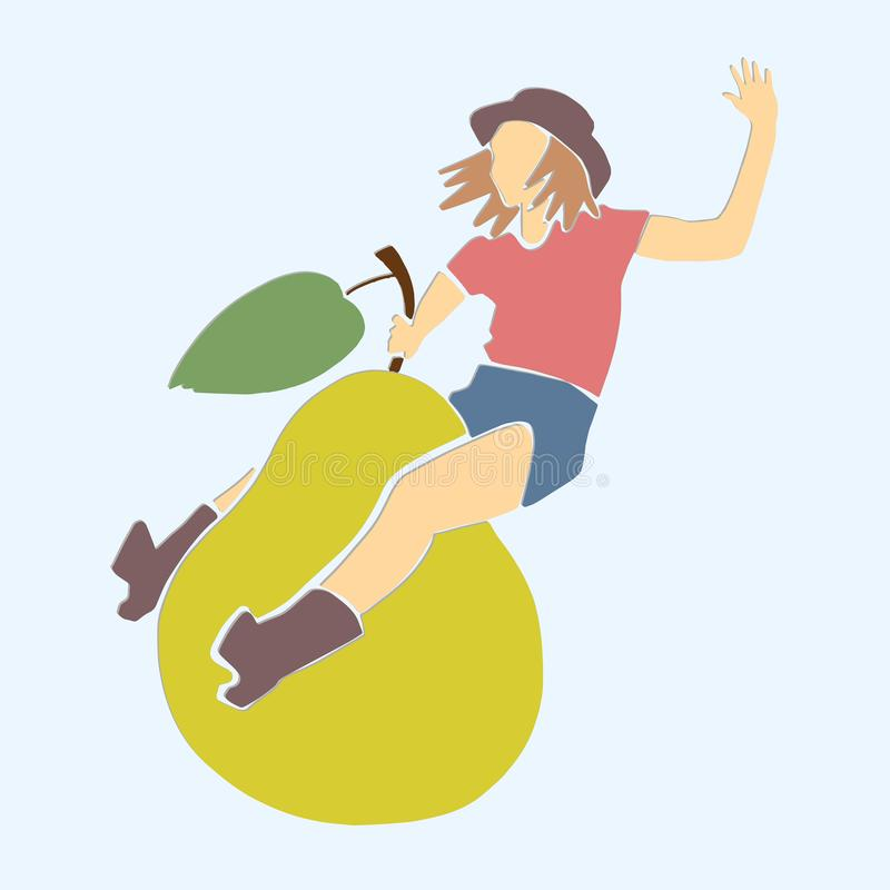 Young woman jumps on pear. stock illustration