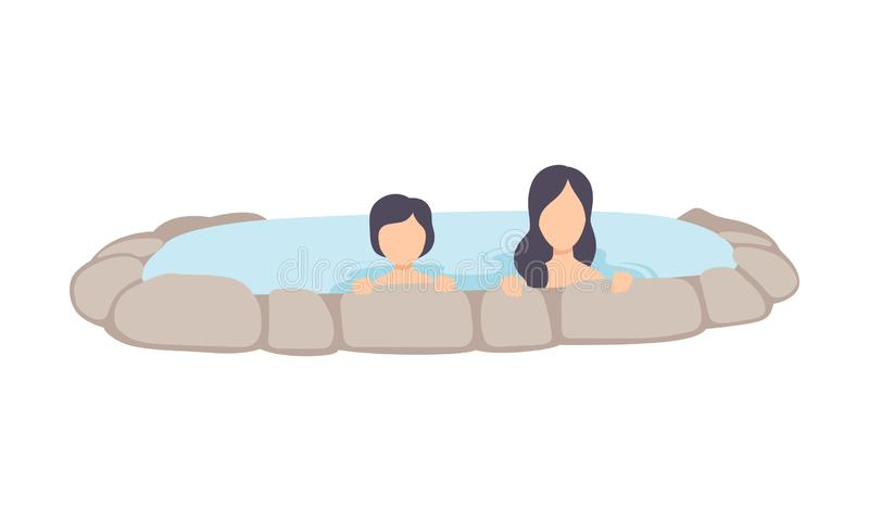 Young woman and kid enjoying outdoor jacuzzi, mother and her child relaxing in hot water in bath tub vector Illustration stock illustration