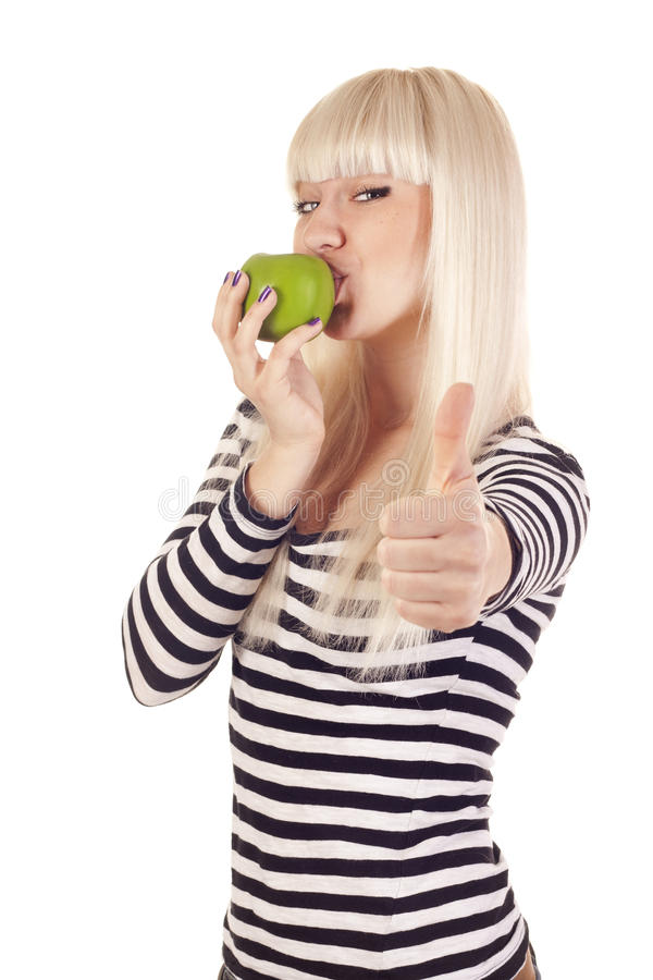 Download Young Woman Kissing Apple And Showing Hand Ok Sign Stock Photo - Image of face, apple: 21769284
