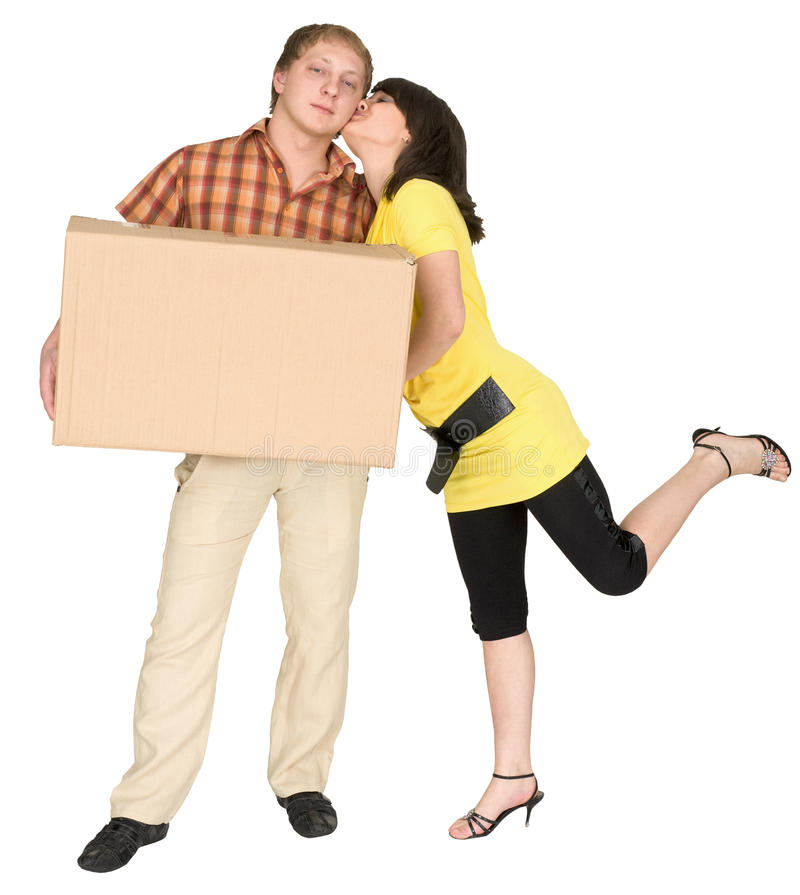 Young woman kissing man stock images