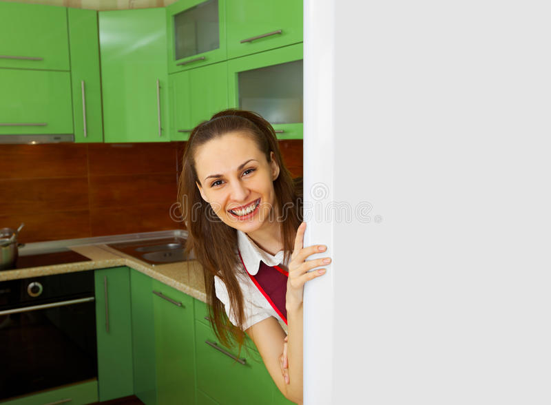 Download Young Woman On Kitchen Near Refrigerator Stock Photo - Image of kitchen, domestic: 25234822