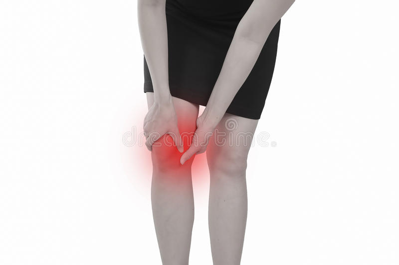 Young woman with knee pain isolated on white background. stock photography