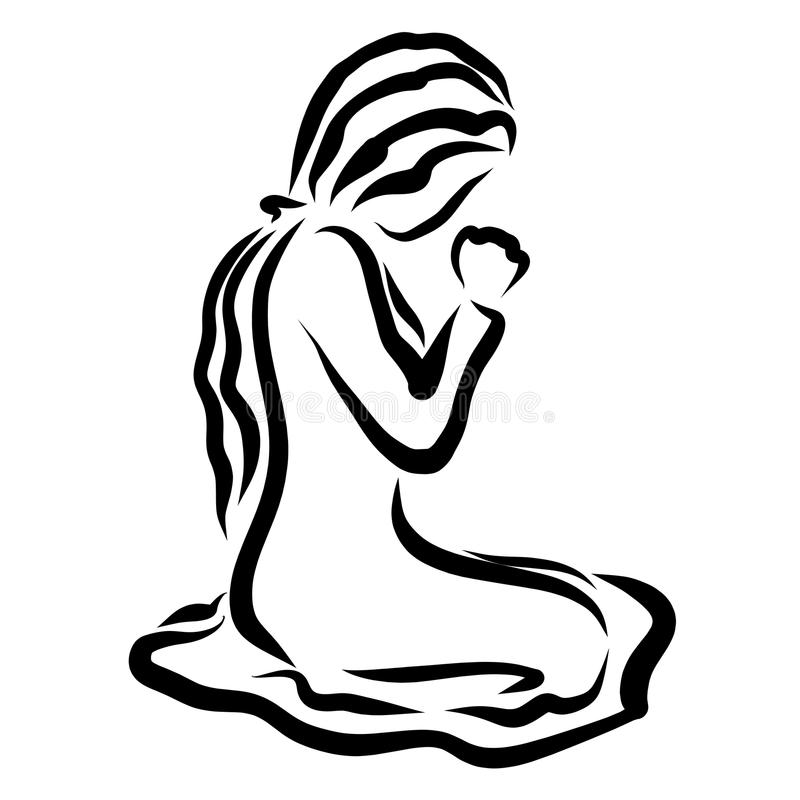 Young woman kneeling humbly praying to God vector illustration