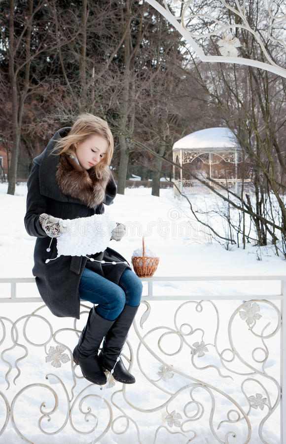 Download Young Woman Knitting  From The White Yarn Stock Image - Image: 29762215