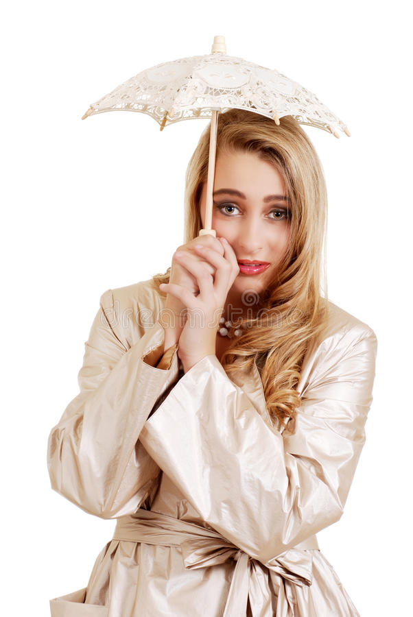 Young woman with lace umbrella royalty free stock image
