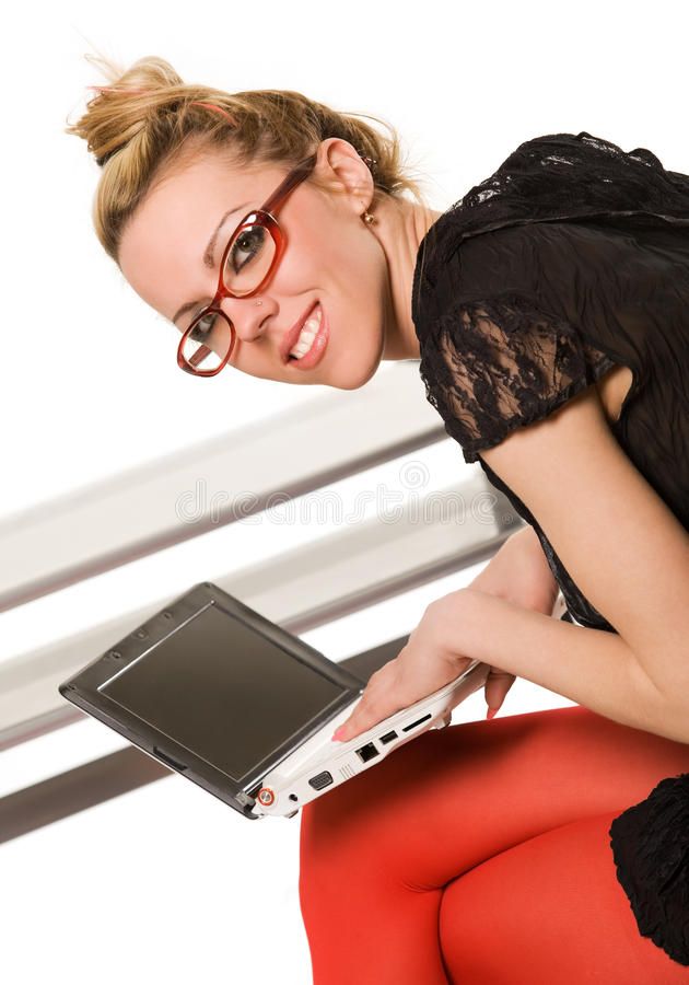 Download Young Woman With Laptop Royalty Free Stock Image - Image: 11239726