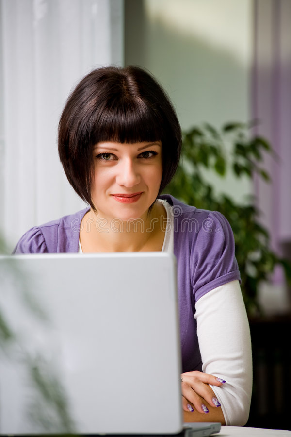 Young Woman With Laptop Stock Images