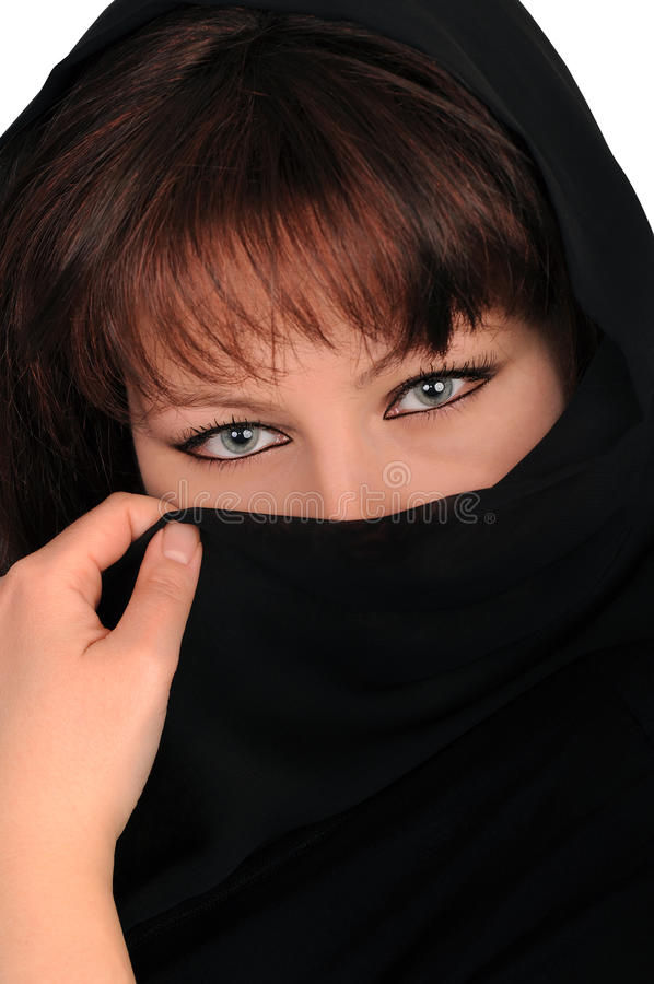 Download Young Woman Latent By A Black Veil Stock Photo - Image: 18330458