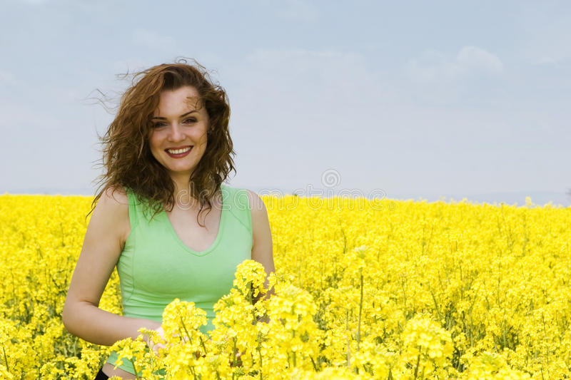 Download Young Woman Laughing In The Flower Field Stock Image - Image of flower, model: 9442117