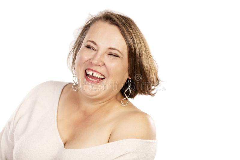 Young woman laughs close up royalty free stock photo