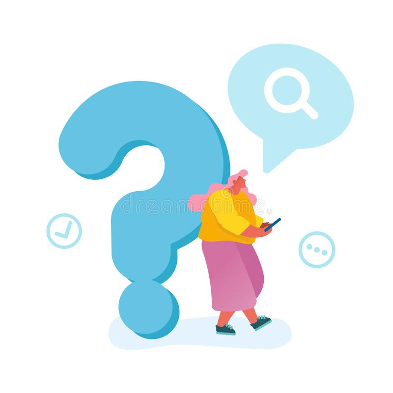 Young Woman Leaning on Huge Question Mark Searching Information in Internet Using Smartphone Isolated vector illustration