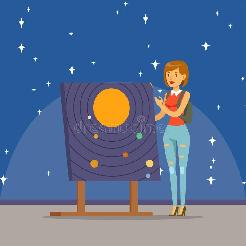 Young woman learning about the solar system at the planetarium. Horizontal vector Illustration royalty free illustration