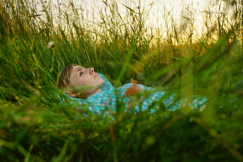 Download Young Woman Lie In The High Grass Stock Image - Image: 38694891