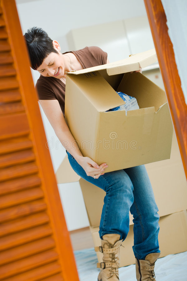 Download Young Woman Lifting Cardboard Box Stock Photo - Image: 4702842