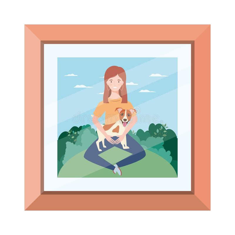 Young woman lifting cute dog in picture vector illustration