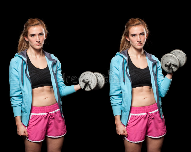 Young Woman Lifting Weights Stock Photos