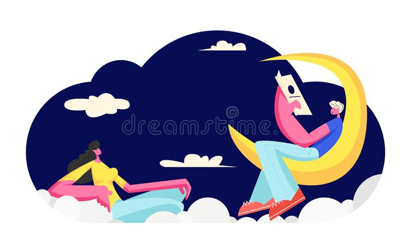 Young Woman Listen Man Reading Poetry Sitting on Moon. Love Dating. Happy Couple in Loving Relations Spending Happy Time. Together, Sweet Life Moments, People stock illustration