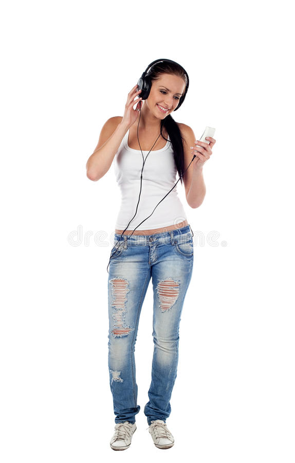 Download Young Woman Listen To Music Isolated Stock Photo - Image of white, young: 25162236