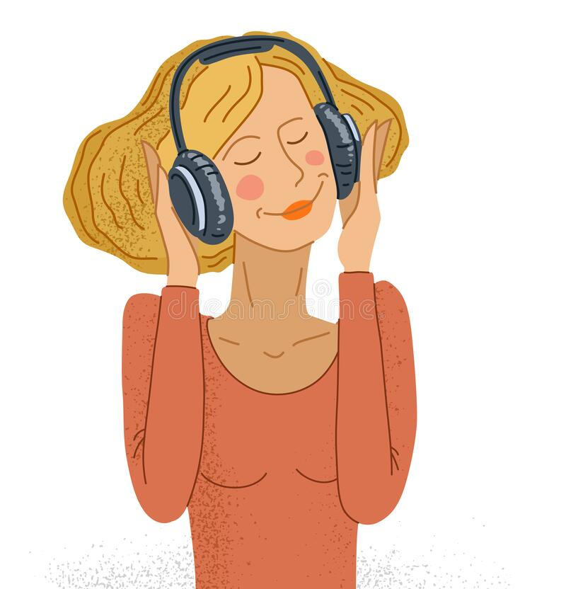 Free Young Woman Listening To Music In Headphones Vector Illustration Isolated On White, Girl Is Enjoying And Relaxing Listening To Royalty Free Stock Image - 189915716