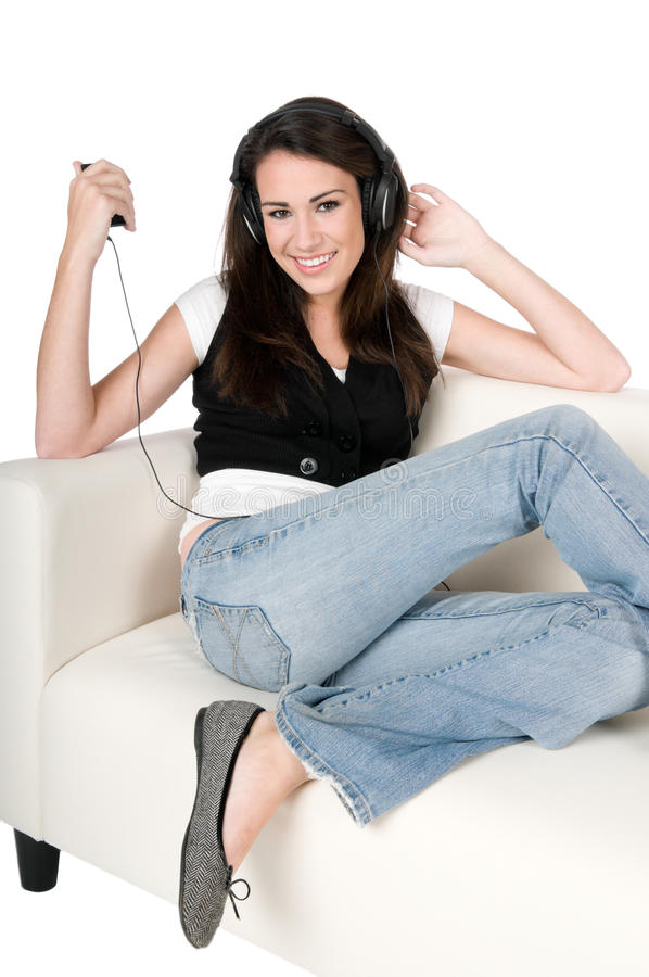 Download Young Woman Listening To Music, Isolated Stock Image - Image of brunette, enjoyment: 11590517