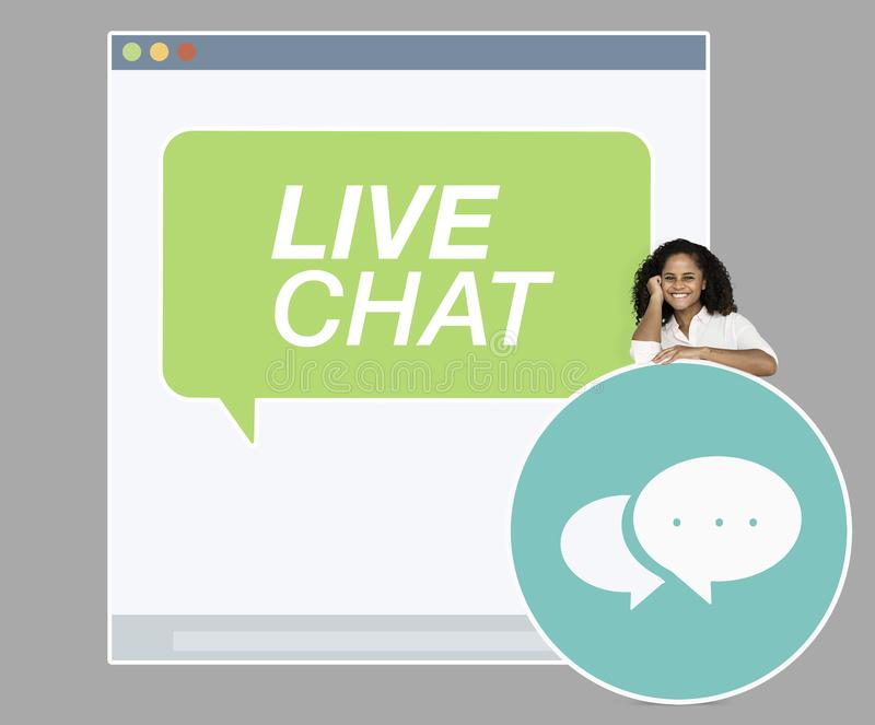 Young woman on a live chat stock photos