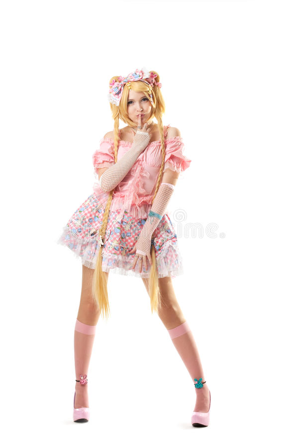 Young woman in lolita costume cosplay isolated royalty free stock photography