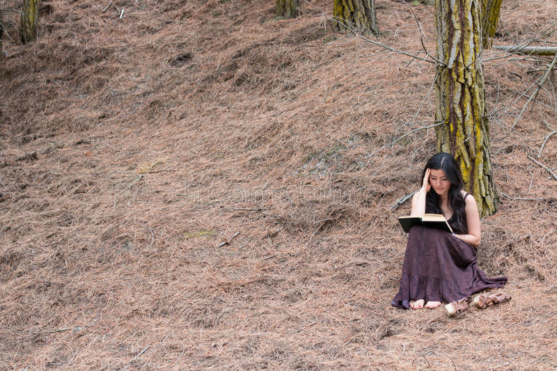Young woman in long dress reads a book sitting under a tree royalty free stock photography