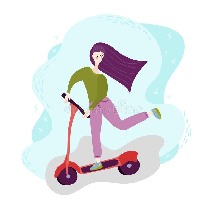 Young woman with long hair on kick scooter. Concept girl silhouette is engaged in leisure. Outdoor Activity. Isolated royalty free illustration