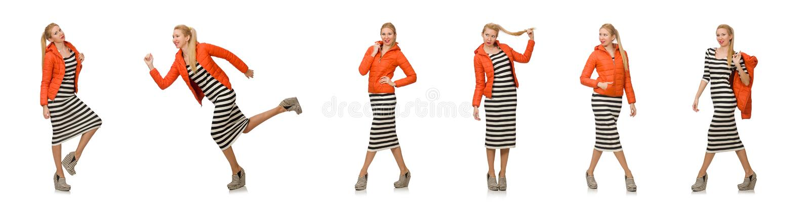 Young woman in long striped dress isolated on white stock photos