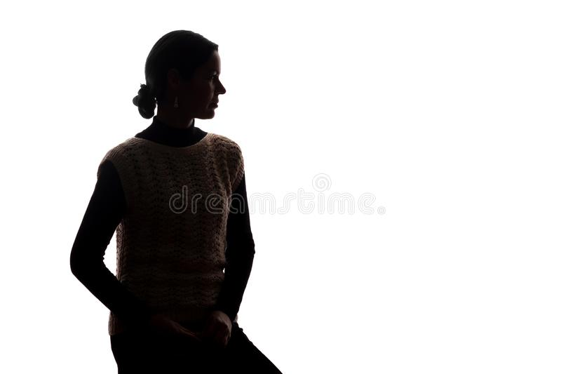 Young woman look ahead - horizontal silhouette royalty free stock photos