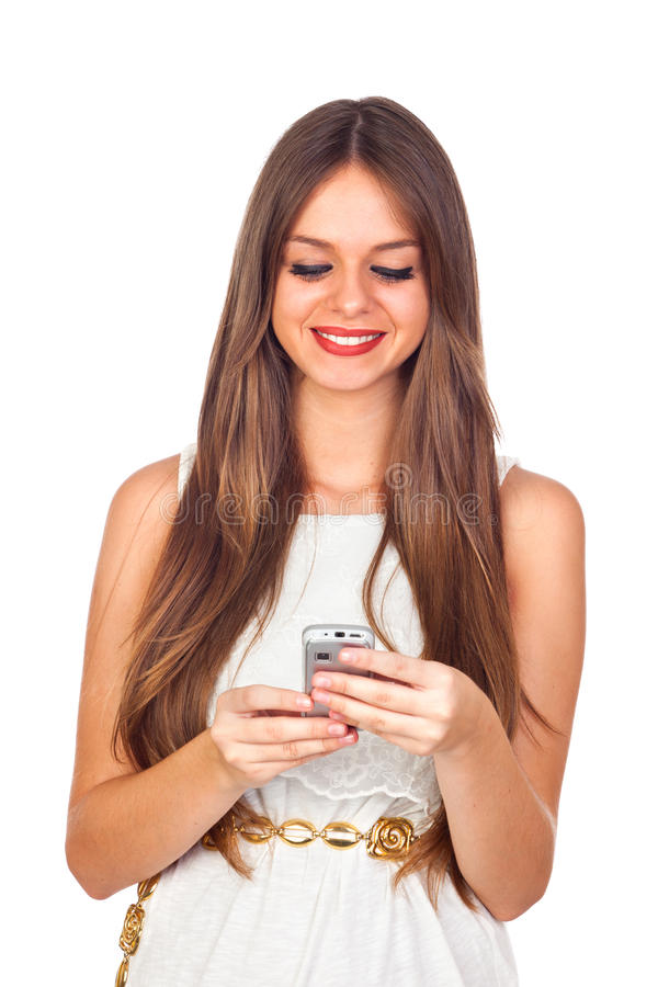 Download Young Woman Looking At Her Mobile Phone Stock Image - Image: 27002669