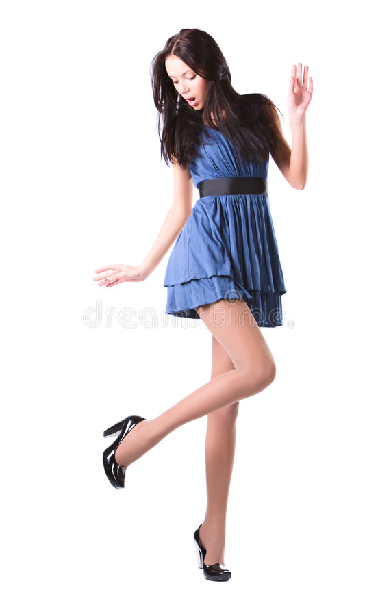 Young woman looking on her shoes stock photos
