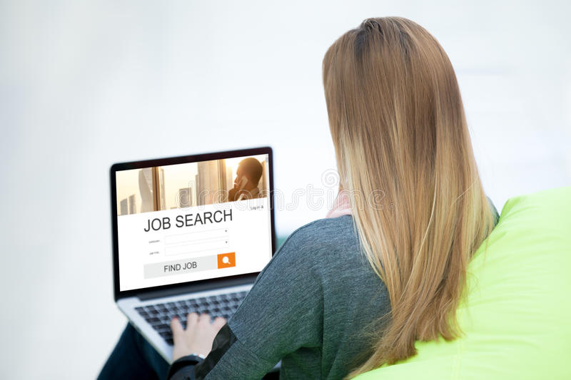 Young woman looking for a job stock photography