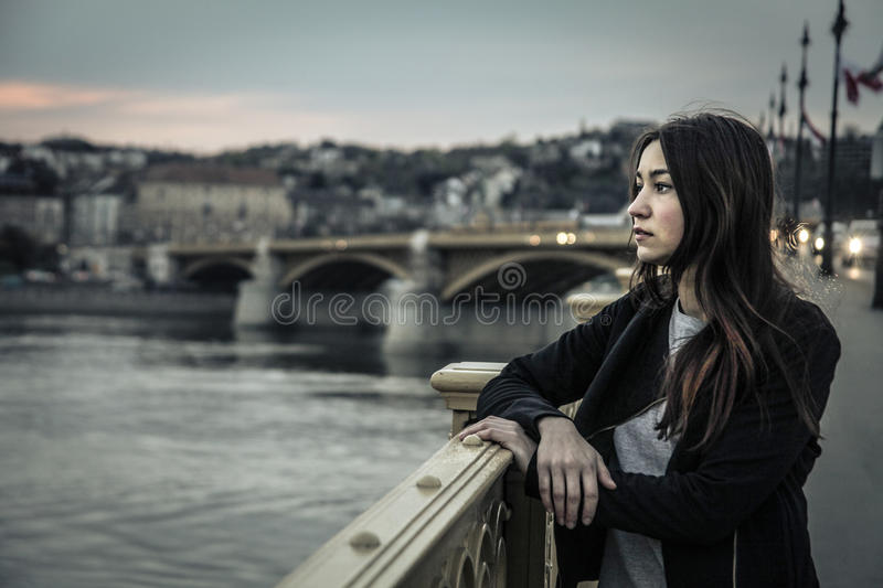 Young woman looking at the landscape stock photo