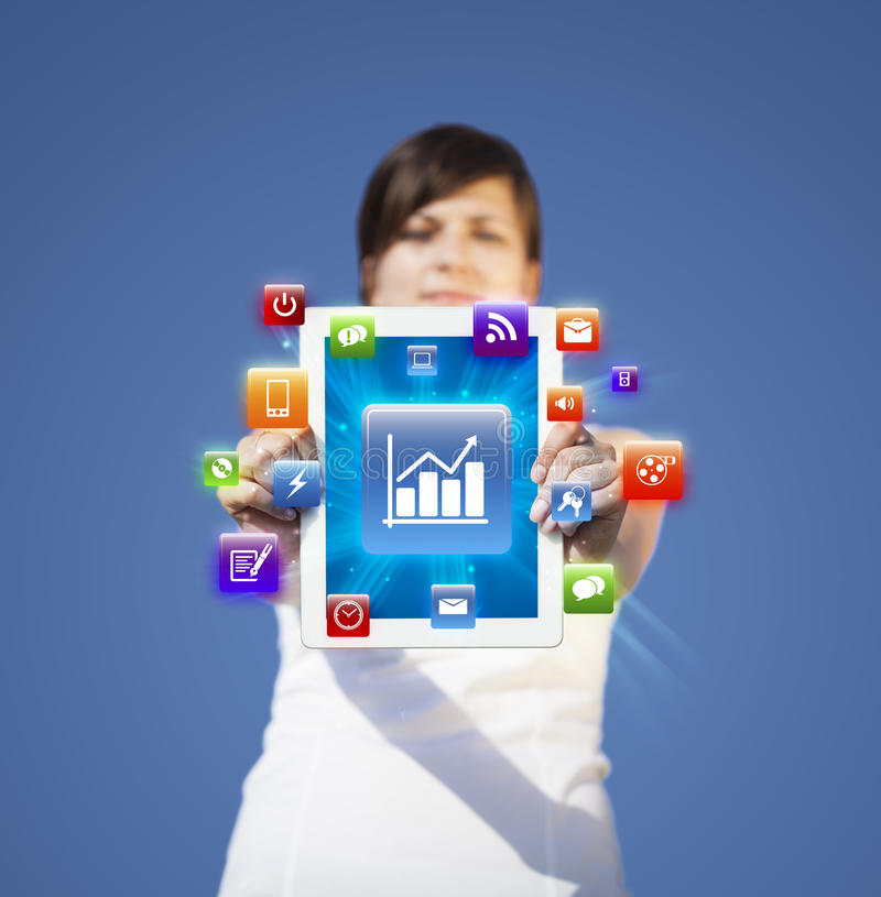 Download Young Woman Looking At Modern Tablet Stock Illustration - Image: 27643575
