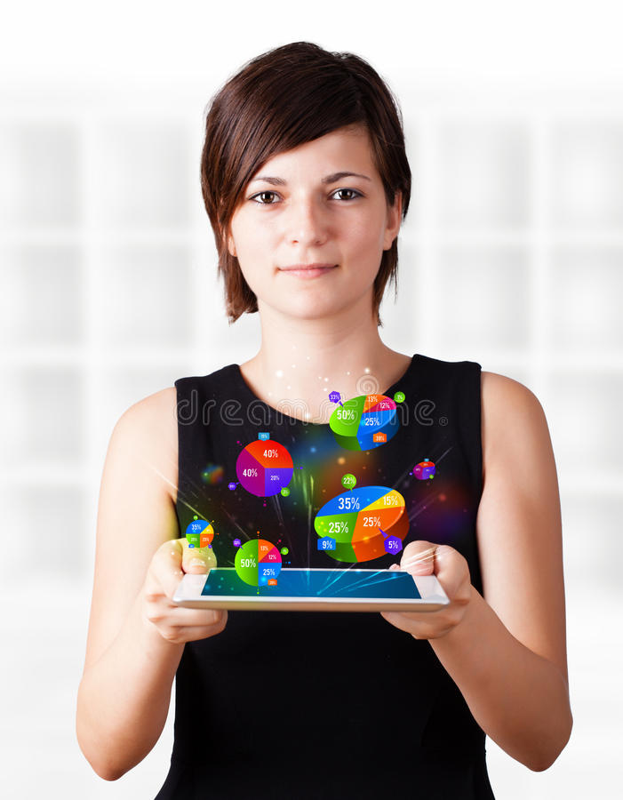 Download Young Woman Looking At Modern Tablet With Pie Charts Stock Illustration - Illustration: 38305632