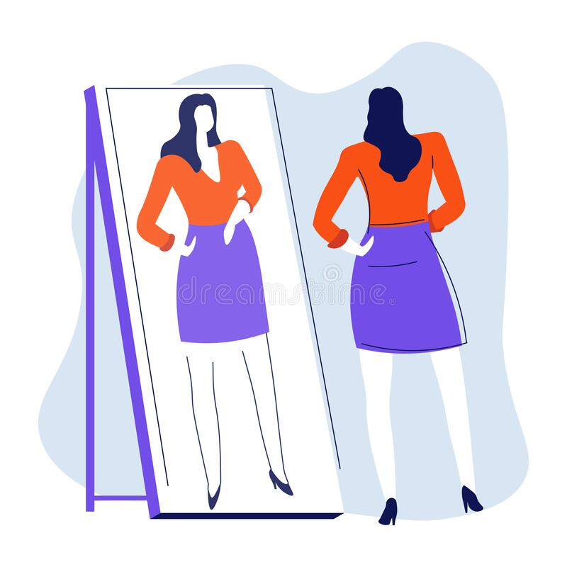 Mirror and woman looking at reflection, isolated female character. Young woman looking at reflection in mirror, smarten up vector. Hairstyle and makeup checking vector illustration