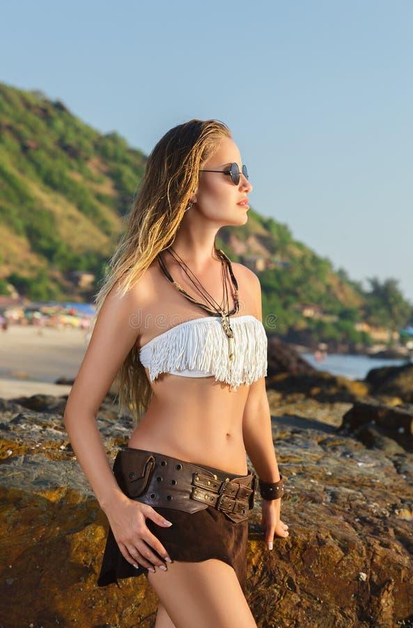 Young woman looking at sea royalty free stock image