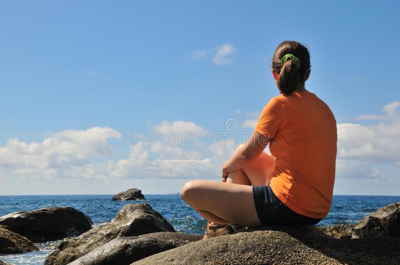 Download Young Woman Looking On Sea View Stock Photo - Image: 19310106