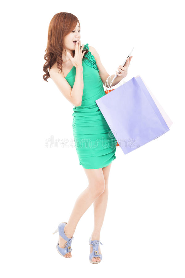 Young Woman Looking Tablet Pc Royalty Free Stock Photography