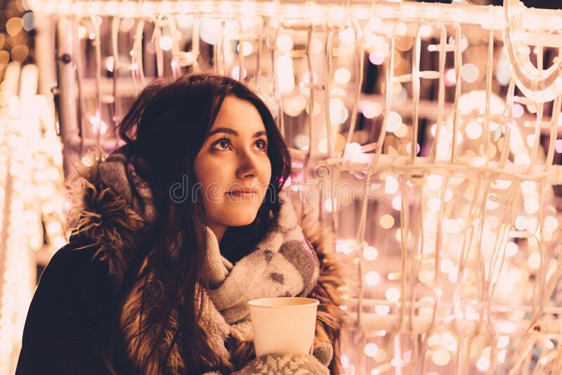 Young Woman Looking Up royalty free stock image