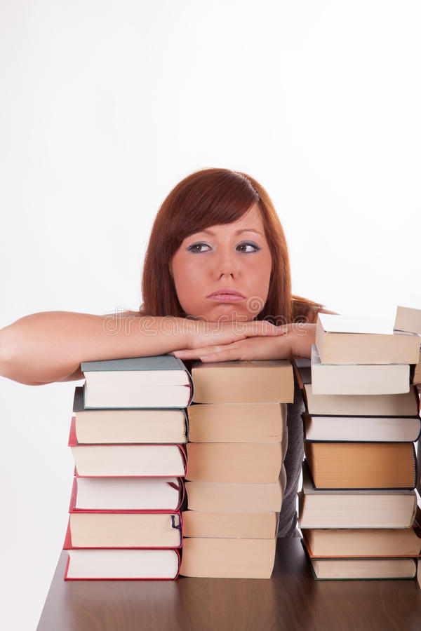 Download A Young Woman With Lots Of Books Royalty Free Stock Images - Image: 26561259