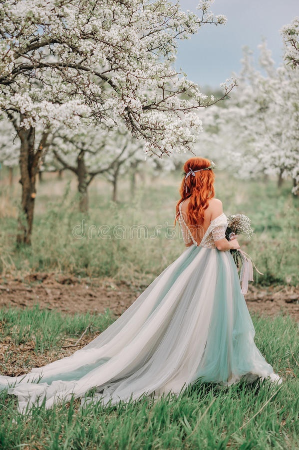 Young woman in a luxurious dress is standing in a blooming garden stock photo