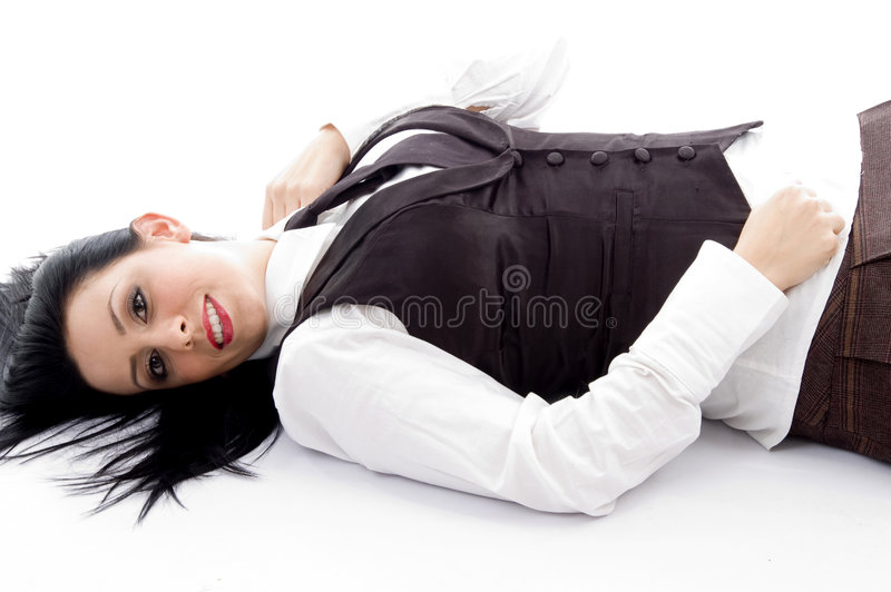 Young Woman Lying Down On Floor Stock Images