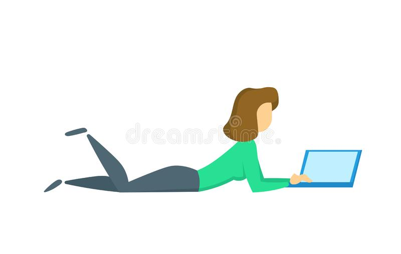 Young woman lying down while using a laptop computer. Flat vector illustration. Isolated on white background. vector illustration