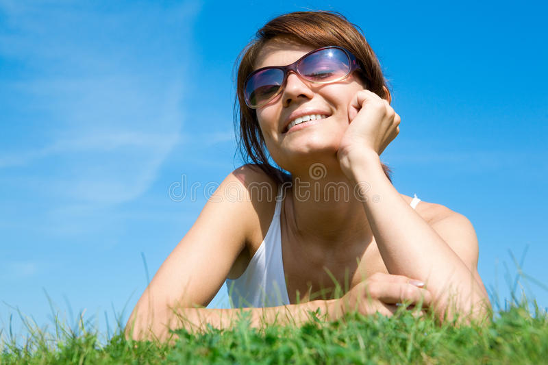 Download Young Woman Lying On The Green Grass Stock Image - Image: 10116805