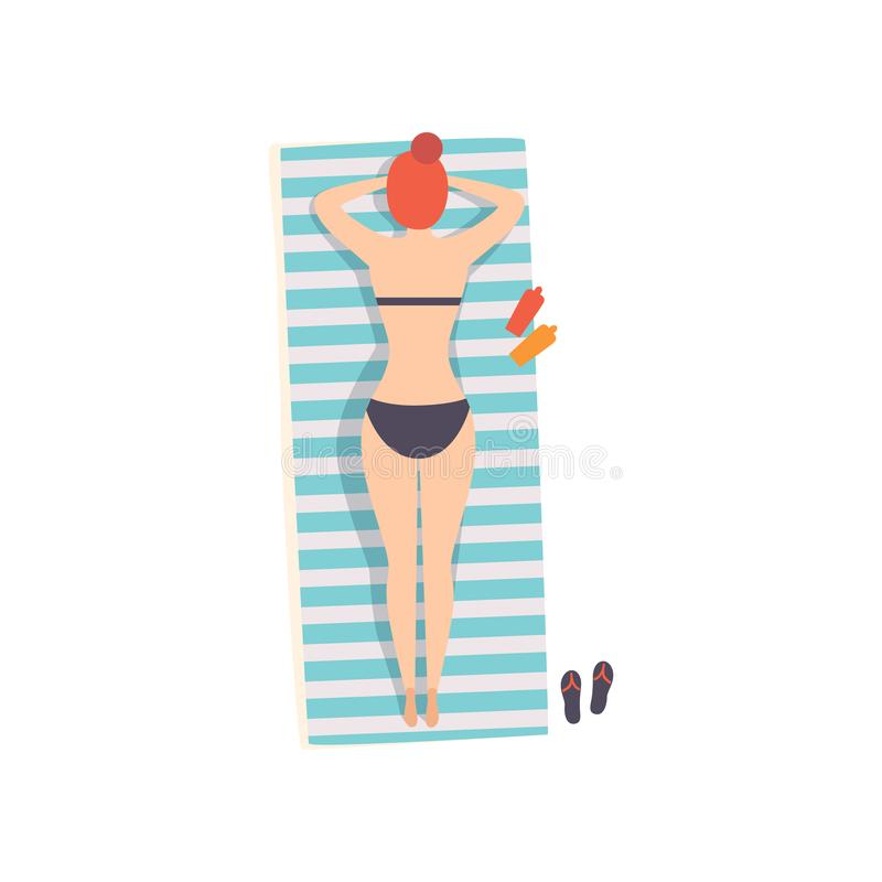 Young woman lying on her stomach on the beach towel and sunbathing on the beach, top view vector Illustration on a white. Young woman lying on her stomach on the vector illustration